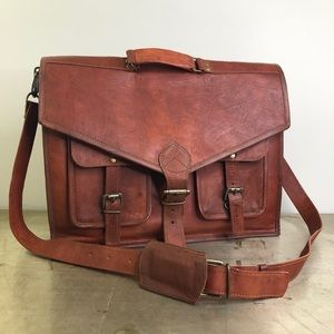 Other - Large Brown Leather Messenger Bag